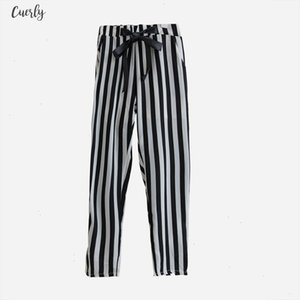 Set Womens Summer White Letter Printed T Shirt Sexy Cropped Tops Striped Pants Calf Length Casual Tracksuit S65347r
