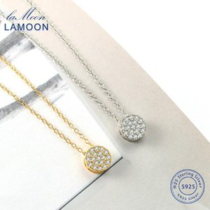 Lamoon 925 Sterling Silver For Women Cadeia Choker CZ Pingente Dainty ouro pequeno cor prata LMNL019 Jóias