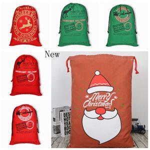زينة عيد الميلاد Santa Sacks Monogrammmable Christmas Gift Bag Large Drawstring Bag Santa Claus Deer 25 Designs Bulk Stock CYL-YW1065
