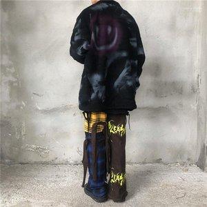 Мода Свободные Граффити Граффити Граффити Густые Куртки Высокого Улица Стиль Мужские Куртки Повседневная Одежда Мужчины Улыбающиеся Лицевые Печать Мужские Дизайнерские Куртки