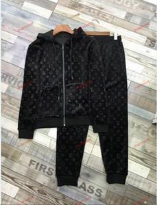 Louis Vuitton jacket slacks l Top di lusso di marca di abbigliamento sportivo Tute con cappuccio + pantaloni da uomo Imposta Tute 2PCS deportivo sport con cappuccio casuale