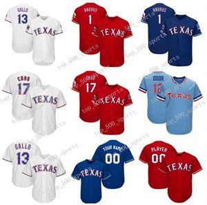 Jerseys personalizados para hombre Jersey Texas jugadores Joey Gallo Elvis Andrus Rougged Odor Shin-soo Choo Alta calidad