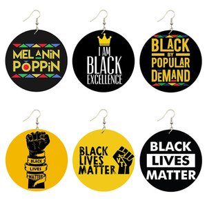 Black Lives Matter Saying Trendy Women Print Jewelry Natural Wood Drop Earrings Melanin Poppin Afro Power Fist Pattern