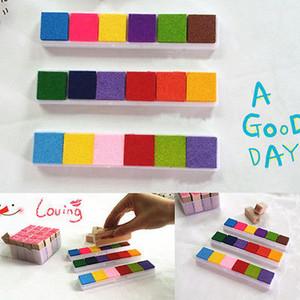 2016 Nouveau 6colors Non toxique encre couleur Pad Inkpad Rubber Stamp Finger Print bricolage Craft Stamp