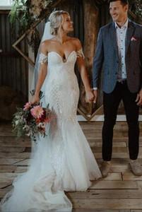 Crochet Lace Mermaid Bohemain Свадебные платья Элегантный с плеча Длина пола отдыха Country Garden Свадебные платья Backless Люкс