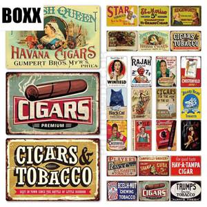 Cigarros de estaño de la vendimia Muestra Muestra Tabaco metal decoración de la pared de la placa de metal Cigar Shop