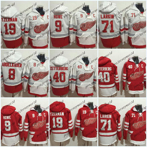 Sudadera con capucha para hombre de Detroit Red Wings # 40 Henrik Zetterberg # 71 Dylan Larkin # 8 Justin Abdelkader # 9 Gordie Howe Jersey con capucha Jersey de hockey