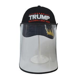 Trump Cap Mask Make America Great Again 3D вышивка бейсболка съемная наружная прозрачная защитная шляпа маски Face shield LJJA4043