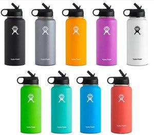 TOP продают 32oz / 40oz HydroКолба с двойными стенками с вакуумной изоляцией из нержавеющей стали бутылки воды с Соломой крышка Бесплатной доставки
