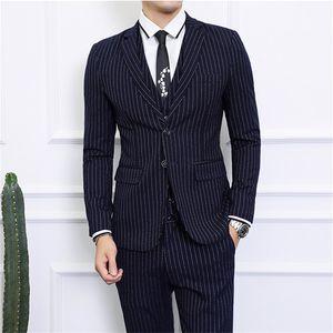 Asian Size S - 6XL Men Dress 3 Piece Set Gray Blue Black Men Striped Blazer jacket with Pants & Vest Waistcoat