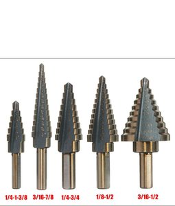 5-piece inch step drill bit set steel plate drill twist free shipping wholesale china cheap price tv product