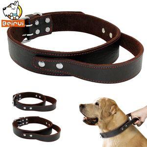 Echtes Leder-Hundehalsband Durable Echtes Leder Erziehungshalsband für mittel große Hunde Haustiere Pitbull mit Quick-Control-Handle Y200515