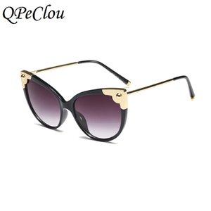 QPeClou 2019 Nuova personalità del metallo di gatto occhiali da sole occhi delle donne di modo grandi Cateye Occhiali da sole femminile Eyewear UV400
