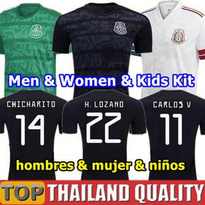 Gold Cup 2019 T-Shirts Mexiko 19 20 HERREN FRAUEN Trikot 2018 CHICHARITO LOZANO MARQUEZ DOS SANTOS Mädchen-Fußballtrikot HERRENKINDERKINDER-Kit Uniformen Version des Players