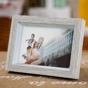 Bianco Vintage Wood Grain Desktop Photo Frame Home Art Craft Cornice delicate 5-12 Frames pollici per Immagini marcos de fotos