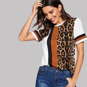 Леопардового короткого рукав футболка Strip Crew Neck Летние тройники Мода Женской Wear панели Cacual женской одежда
