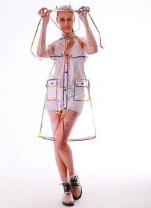 Ücretsiz kargo moda bayanlar kızlar plastik şeffaf eva uzun kadın yağmurluk kapüşonlu açık touring rainwear