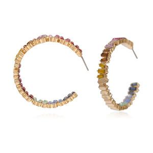 C Tipo lotti degli orecchini di cristallo variopinto gemma Embed oro le donne grandi orecchini di modo del partito degli orecchini del polsino FJ189-3