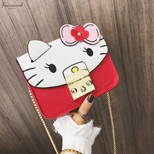 New Cute Cat Girl Shoulder Bag High Quality Pu Leather Messenger Bag Three Dimensional Stitching Small Square Bag