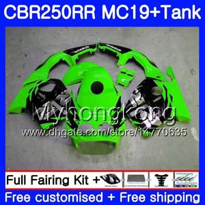 Corps de moulage par injection + réservoir pour HONDA CBR 250RR 250R CBR250RR 88 89 261HM.1 vert noir chaud CBR 250 RR MC19 CBR250 RR 1988 1989 Kit de carénages