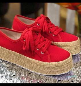 LASPERAL Fashion Women Ladies Espadrille Shoes Canvas Thick bottom Flats Shoes Girls Lace up Round Toe Casual Breathable Flats