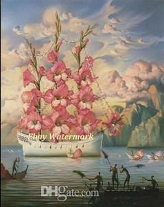 Vladimir Kush Arrivée du célèbre navire de fleur peinte à la main abstraite Wall Art Peinture à l'huile sur toile Divers Tailles Ab196.24-25