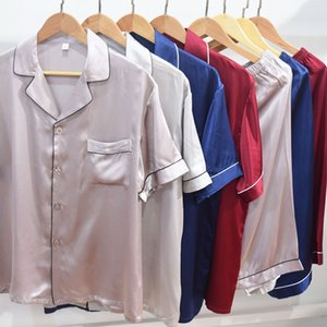 Men's silk short-sleeved pants two-piece pajamas home pajamas set thin cool clothes mulberry silk home clothes Tao