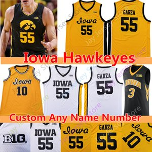 Özel 2020 Iowa Indians Basketbol Jersey NCAA Kolej 55 Luka Garza 10 Joe Wieskamp Bohannon Fredrick Connor McCaffery