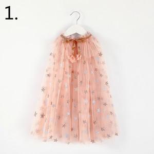 Retail Seaside Fairy Mantel für Kinder Mädchen Geburtstag Weihnachten Pailletten Pom Pom Star Heart Mesh Thin Poncho E1120