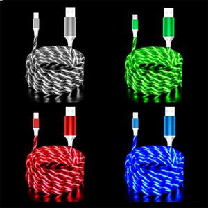 1M visible Flowing LED lumineux de type C Usb C Micro USB Câble rapide Ligne de charge pour Samsung S8 S9 S10 note 8 9 htc téléphone android