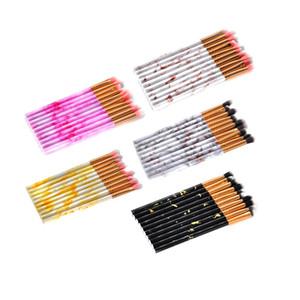 10PCS Makeup Brushes Tool Kit Eye Shadow Blending Brush Set Cosmetic Brushes Marble Eyebrow Synthetic Hair Make Up Brush GGA1859