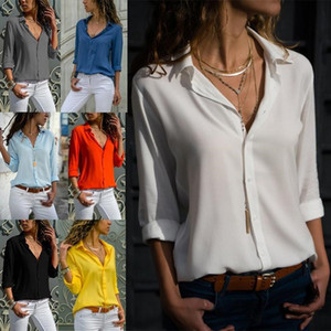 Moda Kadınlar Bluz Uzun Kollu V yaka T Gömlek Katı R.Düğmeli şifon bluz Turn-aşağı Yaka Gömlekler Kadın blusas Giyim S-3XL Tops