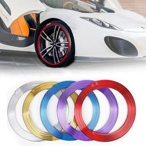 8M cromo del coche Cubo de rueda Decoración Moldeo tira de ajuste automática de cinta de bricolaje Neumático Neumático Lamer engomada protectora del Accesorios universales