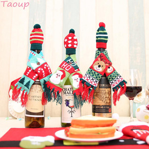 Taoup Santa Claus Merry Christmas Wine Bottle Cover Colgantes Adornos de gota Christmas Wine Holder Bags Decoración de Navidad para el hogar Noel