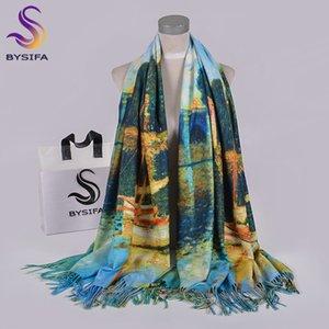 [BYSIFA] bleu d'hiver Echarpes Châles Mode Utralong imprimé cachemire 200 * 70cm Mesdames cou écharpe Hijab Chales Echarpes