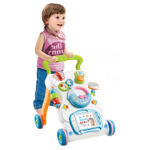 Multifuncional Andador juguetes niño carretilla Sit-a-Coloca ABS Musical Walker con altura ajustable para niños pequeños
