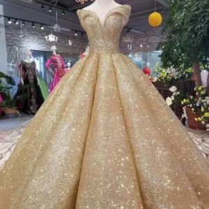 2020 Beliebte Reflective Kleid GoldPaillette Ballkleid Quinceanera Kleider weg von der Schulter Gliter Kurvenverlauf Langen Abendkleid Formal