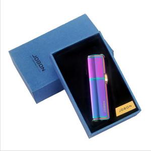 Starke Drei Jet-Schleifscheibe-Feuerzeug Toilette Gerade Gas Butan Zigarette winddicht Aufblasbare Feuerzeug mit Geschenk-Kasten Mode