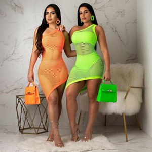 2019 Nueva ropa de playa Bikini Cover Up Traje de baño Abrigo Hombro Mallas Ahueca hacia fuera el vestido Vestido asimétrico dobladillo Bodycon