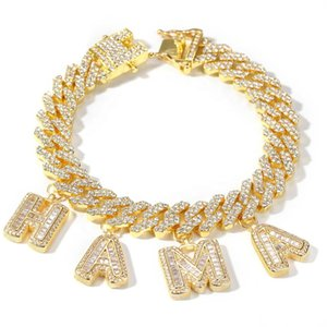 New Custom Baguette Letter Charm Bracelet DIY Initial Name Necklace Personalize Rapper Jewelry Dropshipping Wholesale Price