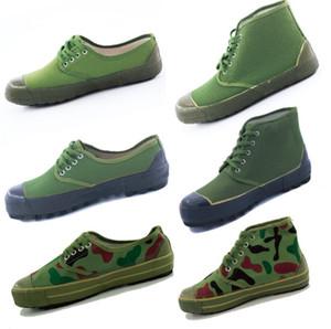 Классическая дешевая прочных резиновых холст плоского каблук низкой высоких освободительная обувь militry обувь камуфляж военной подготовка рабочей обувь U01350