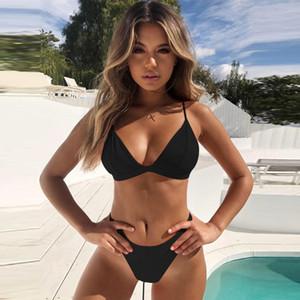 Hirigin Thong Bikini-Satz 2019 neue Frauen-Badebekleidung Pure Color Push Up Padded Badeanzug Biquini Frauen Badeanzug Sommer Bademode