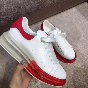 2020 New Season Designer Luxury Mens Casual Shoes Clear Sole Trainers Red Yellow Pink Transparent Crystal Bottom Flats Men Women Sneakers