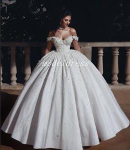 Princesa Arabric Baile Vestidos Off ombro até o chão Flores Beads Igreja Garden Vestido de Noiva Plus Size Vestido de novia 2020