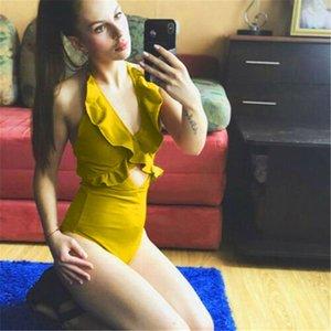 2019 Seksi Tek Parça Mayo Bayan Mayo Push Up parça bikini Ruffle Kol Bodysuit Katı Mayo Backless Plaj Mayo