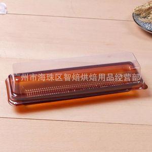 Desechable rollo de queso Estilos Cake Box largas de plástico transparente para hornear Cajas para empaque Postre envases de alimento al por mayor de 0 24zp E19