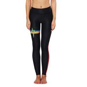 Yoga Pantaloni neri pancia controllo Hip Stampato Heart Rate Radio femminile Sport Fitness in esecuzione Push Up igroscopico Suit