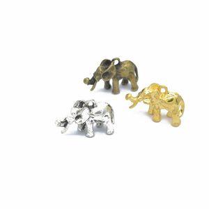 Bulk 120pcs / lot fascini dell'elefante, pendente di fascino dell'elefante 3D, doppio lato, fabbricazione dei monili, mestiere di DIY 21 * 15mm