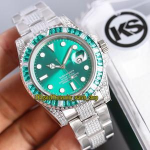 KS مجموعة في الحفر الفرعي مخصص الإصدار 116610LV-97200 116610 ETA 2836 التلقائي الأخضر الهاتفي الرجال ووتش الصلب الماس حزام مصمم الساعات