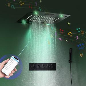 2020 스마트 블루투스 블랙 샤워 세트 음악 온도 조절 샤워 헤드 수도꼭지 멀티 기능 미스트 강우 폭포 샤워 시스템